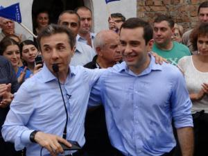 Bidhzina Ivanishvili and Irakli Alasnia campaigning in Zugdidi in August 2012.