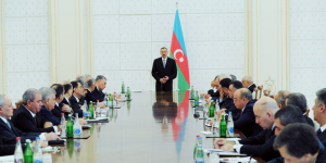 President Ilham Aliev addressing a meeting of the cabinet of Ministers in Baku on 15 January 2013.