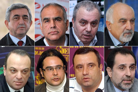 Armenia's Presidential candidates: Top row from left to right: Serzh Sargsyan, Raffi Hovhannisyan, Hrant Bagratyan, Paruyr Hayrikyan; Second row from left to right: Arman Melikyan, Andrias Ghukasyan, Vardan Sedrakyan, Aram Harutyunyan (picture courtesy of ArmeniaNow news portal).