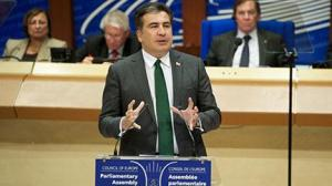 President Saakashvili addressing PACE in Strasbourg on 21 January 2013. (picture courtesy of the Council of Europe).