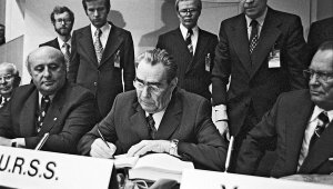 Soviet Leader Leonid Brezhnev signing the Helsinki Final Act in August 1975. The Act made the subject of human rights a matter of legitimate concern to all.