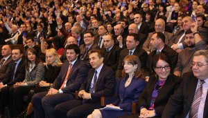 Bidhzina Ivanishvili at the Congress of his Georgian Dream Party in Tbilisi on 16 February 2013.