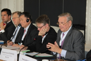 Francois-Xavier de Donnea presenting a report of the Ad Hoc Committee on Transparency and Reform of the OSCE at the Bureau of the OSCE Parliamentary Assembly in Copenhagen on 15 April 2013. Picture courtesy of the OSCE PA