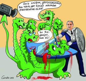 A cartoon of Camil Hassanli slaying a hydra-headed monster representing the other presidential candidates that have ganged up against him has caught the imagination of people.