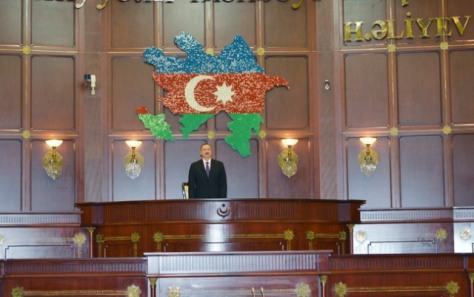 Ilham Aliev at the swearing in ceremony marking the start of his third term as President of Azerbaijan.